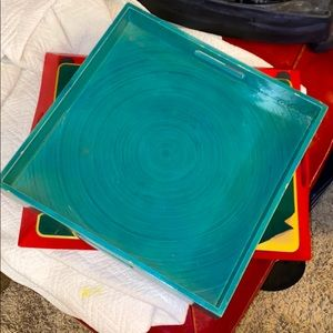 Wooden teal color tray